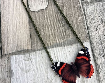 Red Admiral Butterfly Necklace, Entomology Necklace, Butterfly Necklace, Moth Necklace, British Wildlife