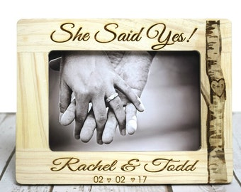 She Said Yes Engagement Gift, Personalized Engagement Gift Custom Picture Frame Gift for Couples, Engagement Keepsake, Engagement Party Gift