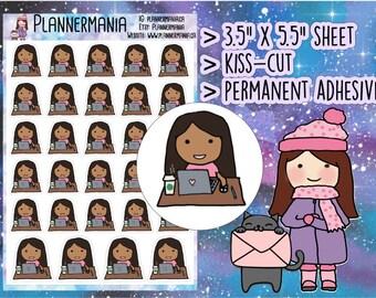 Planner Stickers - Desk Job Sticker, Hand Drawn Sticker, Laptop Sticker, Work Sticker, Office Job Sticker, Black Girl Sticker - 352