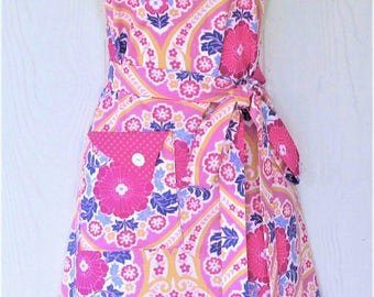 Pink and Blue Floral Apron, Raspberry Polka Dots, Vintage Style, Hostess Apron, KitschNStyle