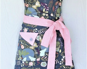 Floral Apron, Bunnies, Butterflies, Women's Full Apron, Vintage Style Apron, Polka Dots, KitschNStyle