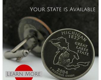 Michigan cufflinks - Michigan Cuff Links - Great Lakes Cufflinks - Groom Cufflinks