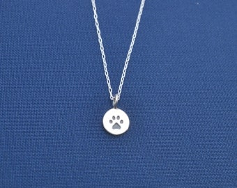Little girl's paw print necklace in sterling silver.  Little girls jewelry.  Dog necklace.  Dog jewelry.  Paw Print Charm.