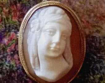 Antique Cameo Brooch Pin Victorian Rare Front Facing High Relief Pendant Hand Carved Shell 800 Silver 1 1/8""