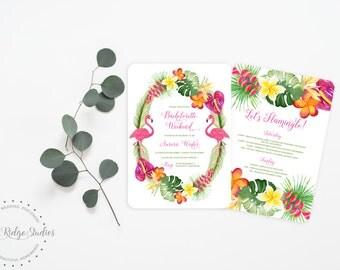Printable Bachelorette Invitation   Let's Flamingle Tropical Bachelorette Party   Hens Party   Bachelorette Weekend   Printable Invite