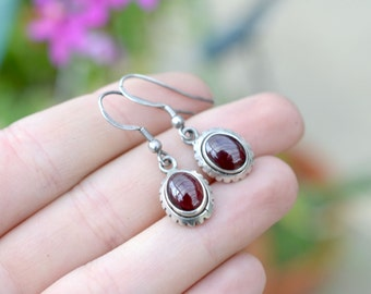 Sterling Silver Oval Dangle Garnet Wire Earrings