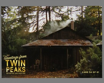 Twin Peaks Gold Box Postcard Card # 54 of 61 Log Cabin In The Woods