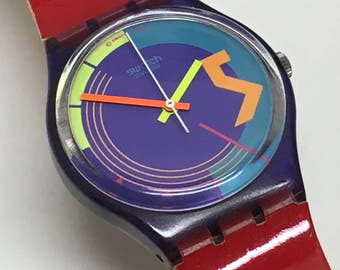 Vintage Swatch Watch Stormy Weather GV100 1989 Purple Clear Skeleton Red Unworn Bands