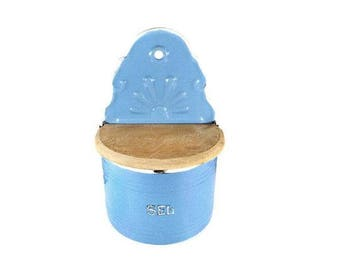 French Blue Salt Box, Enamelware, Storage Canister Storage, Salt Cellar with Wood Lid, Farmhouse Kitchen, Blue Enamel, Country Chic Kitchen