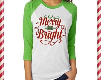 Merry and Bright Christmas Baseball Tee   Christmas Raglan   Merry and Bright Shirt