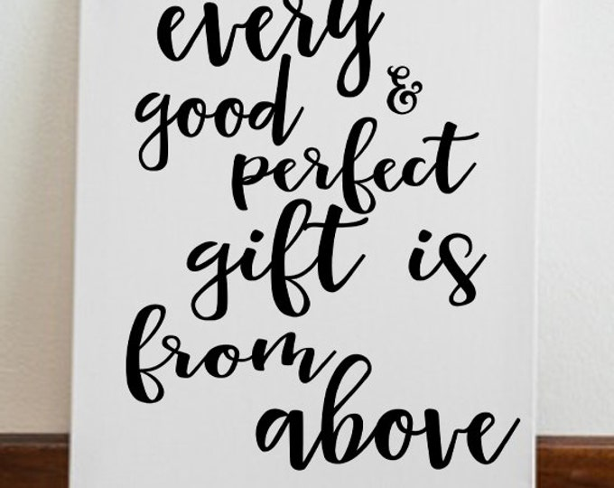 """Nursery Decor Kids Room """"Every Good & Perfect Gift is from Above"""" James 1:17 Canvas Art Wall Art Kids Room Decor"""