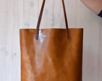 Camel Leather Tote Bag – MINIMAL CHIC in Camel Brown - Medium Size Handmade Leather Tote - Camel Leather Bag