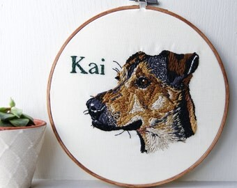 Embroidery hoop art - Custom pet portrait