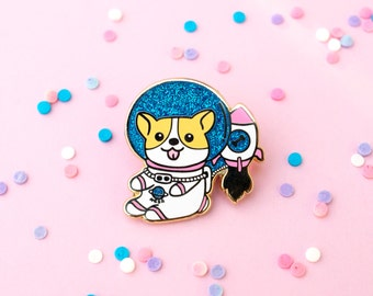 Space Corgi Pin, Enamel Pin, Lapel Pin, Pins, Welsh Corgi, Space Pin, Cute Pins, Dog Pin, Corgi Pins, Corgi, Gift for dog lover, corgi lover