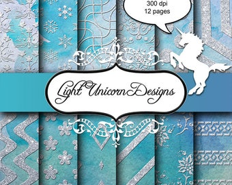Blue Watercolor Sparkling Silver Glitter Digital Scrapbook Printable Paper