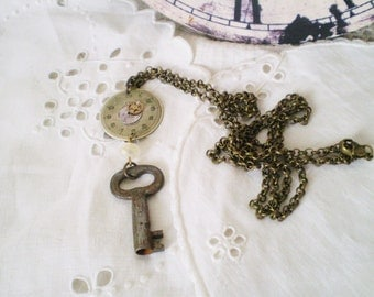 Steampunk Cosplay Necklace Featuring a Vintage Key & Watch Face - watch works, watch components, ivory crystal, vintage look, upcycled, long