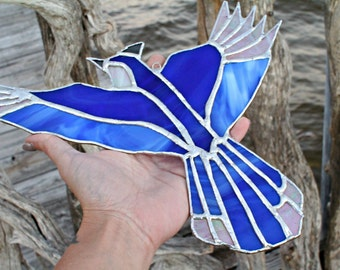 Stained Glass Whimsical Blue Jay, Glass Bird, Blue Jay, Stained glass
