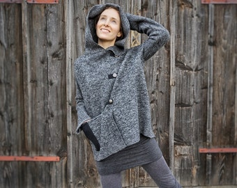 Asymmetric-Coat-Women I grey Loden-Coat I grey Hooded-Coat I Grey-Black wool-Coat I Button-up-Coat