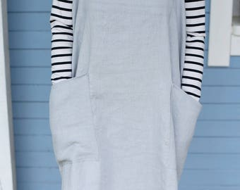 Linen Pinafore Apron/ Square-Cross Apron/ Japanese Apron/ No-ties Apron in Light Grey