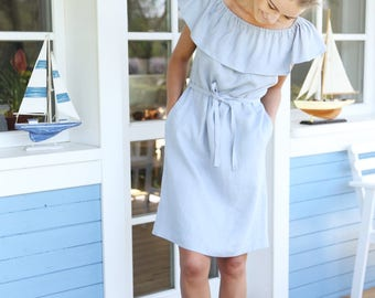 Bare shoulders romantic dress. Soft linen tunica. Handmade summer dress.