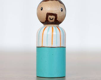 Dad Peg Doll, Boy Cake Topper, Hand Painted Doll, Teal Decor, Wooden Doll, Waldorf Toy, Stocking Stuffer, Modern Kid Toy, Wooden Toy
