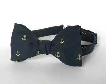 Anchor Bow Tie Self Tie Navy Blue Gold Nautical Indigo Self Tie Bow Tie Boating Yacht Event Anniversary Gift for Him Various Sizes Dark Blue