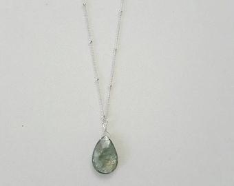 Aquamarine Necklace, Moss Aquamarine, Gemstone Pendant, Satellite Chain Necklace, Sterling Silver