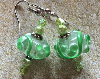 Pale Green Lampwork Earrings,  Earrings, Lampwork Earrings, Green Earrings, For Her, Gift Ideas, Green Glass Earrings