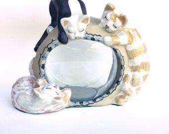 Louisville Stoneware Classy Cats Ceramic Fish Bowl Cover Unique Fishbowl Surround Fishbowl Protector Cat Statue Ceramic Goldfish Bowl Shelf