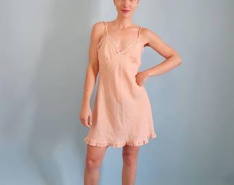 90s Peach Floral Slip Dress with Ruffled Trim!