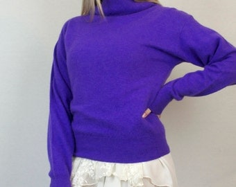 Vintage 70s High Fold Over Turtleneck Pullover Purple Long Sleeve Wool Sweater