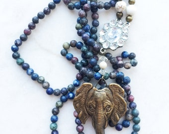 Handmade Blue Stone African Elephant Pendent Necklace with Vintage Crystal