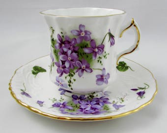 """Hammersley Tea Cup and Saucer """"Victorian Violets"""", Purple Flowers, Vintage Bone China, Member of Spode Group"""