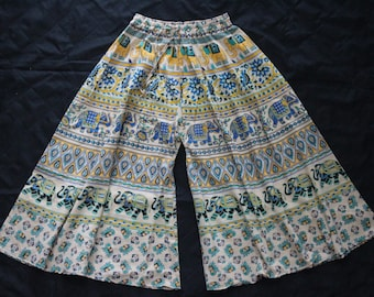 100% Cotton Palazzo pants Wide leg trousers, Boho Bohemian comfortable, hand block printed, Party, Beach, Holiday, Made in India - UK Seller
