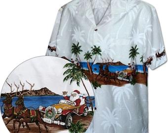 Cruising Santa Christmas Vacation Pacific Legend Hawaiian Aloha Shirt 440-3850