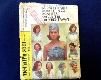 1973 Miracle Yard Scarf, Collar, Halter, Turban Vintage Pattern, McCalls 2001