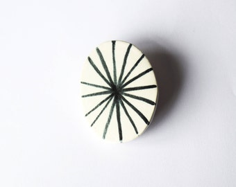 Ceramic Brooch Handpainted Handmade Black and White Pattern Monochrome Triangle Shape Art Original Wearable Art