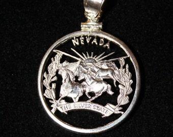 Nevada Quarter Cut Coin Pendant, Horses, Mountains,