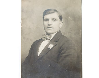 Antique Cabinet Photo Handsome Young Man Postcard Vintage Photography Young Man Male Vintage Photograph Picture Memorial