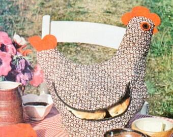 hen bread basket sewing pattern PDF chart / diagram instruction to make chicken bread holder pdf instant download
