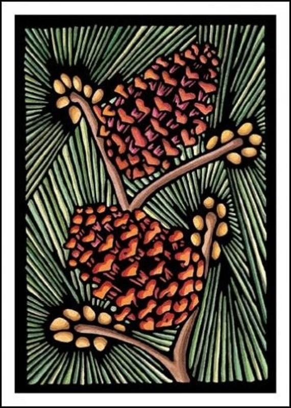 Pinecones - Single Blank Sarah Angst Greeting Card - Mountain Life