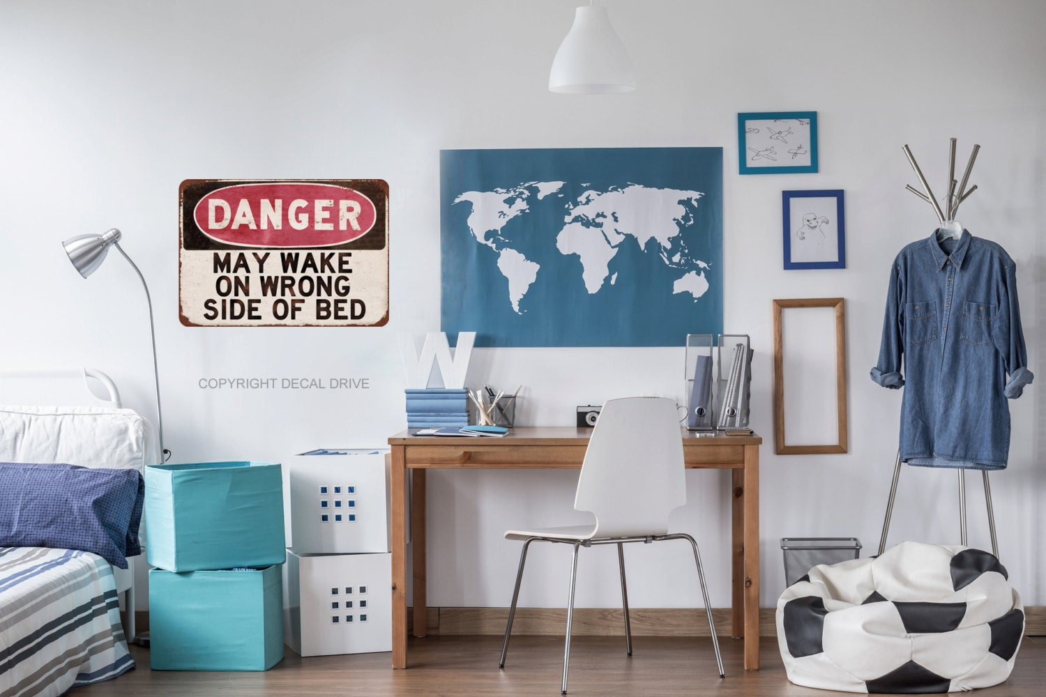Teen Wall Decals Teen Bedroom Decor Danger Sign Teen Boy