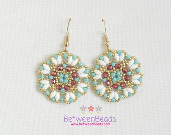 Pearl Jewelry, Glass Pearl, Dangle Earrings, Dangling Earrings, Gift Ideas, Bronze Earrings Small, Mandala Big Earrings White Git Gits