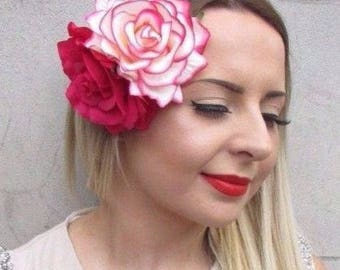 Large Double Cream Hot Pink Rose Flower Hair Clip Rockabilly 50s Fascinator 2860