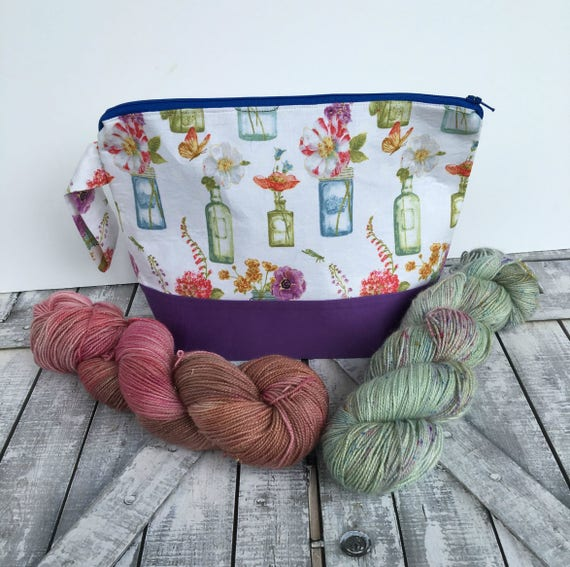 Knitting Project Bag,Small wedge knitting bag,Flower Vases,Sock Project Bag,crochet project bag,knitting bag,Toad Hollow Bags, Wedge Bag