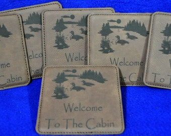 Engraved Coasters ~ Leather Coasters ~ Lake Home Gift ~ Cabin Decor ~ Loons ~ At The Lake Gift ~ Coasters ~ Gift For Friends ~ Housewarming