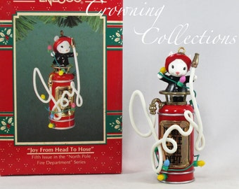 Enesco Mice Joy from Head to Hose Treasury of Christmas Ornament North Pole Fire Department Extinguisher M. Gilmore Studio Vintage #5 5th