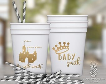 Prince Baby Shower Cups | Personalized Plastic Cup | Monogram Cups | Castle Party Favor Cups | Party Cups | social graces and Co.