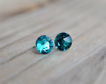 Vibrant Teal Swarovski Crystal Earrings with Hypoallergenic Nickel-Free SettingGenuine Stunning Handmade Perfect Gifting and Jewelry Lovers
