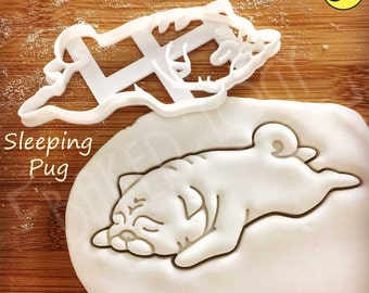 Sleeping Pug cookie cutter | biscuit cutter | fondant cutter | clay cheese cutter | dog ooak cute funny pugs monday blues パグ | Bakerlogy